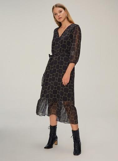 NGSTYLE Geometrik Desenli Elbise Siyah
